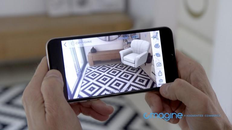 La plataforma de realidad aumentada de Cimagine para el comercio le permite a los clientes ver cómo lucirán los objetos en sus hogares u oficinas. Cortesía.