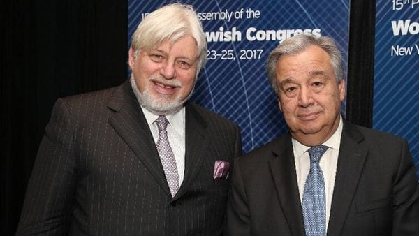 Adrián Werthein, presidente del Congreso Judío Latinoamericano, y el secretario general de las Naciones Unidas, António Guterres (WJC)