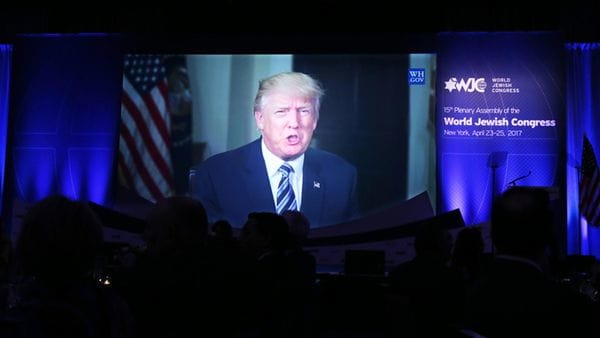 El presidente de los Estados Unidos, Donald Trump, envió un mensaje al Plenario del Congreso Mundial Judío (WJC)