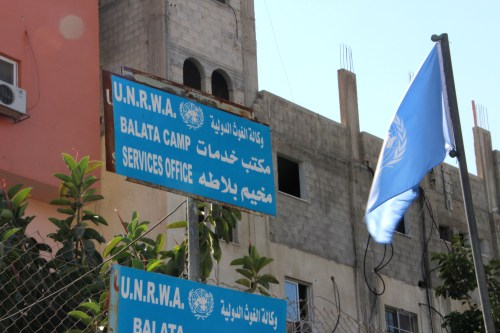 UNWRA headquarters in the Balata refugee camp in Nablus