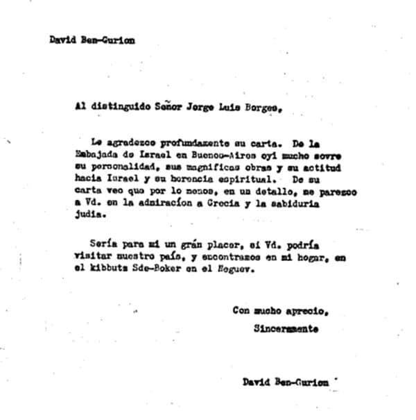 Fascimil de la carta (Gentileza Archivo del Instituto Ben Gurión)
