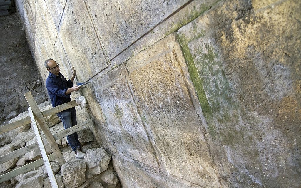 Eight courses of the Western Wall were discovered in the excavation. (Yaniv Berman, courtesy of the Israel Antiquities Authority)