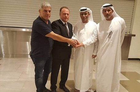 Moshe Pinto, left, Marius Vizer, second left, and two Emirates sports officials meeting in Abu Dhabi on October 28, 2017, (IJF)