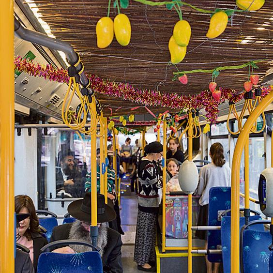 The festive Sukkot bus (Photo: Amit Shabi)