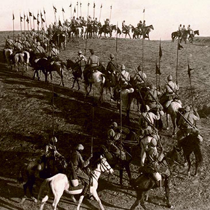 Anzacs cabalgando por Be'er Sheva en 1917
