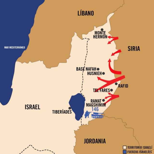 Mapa Guerra de Yom Kipur 1973 - Fuerzas de Defensa de Israel