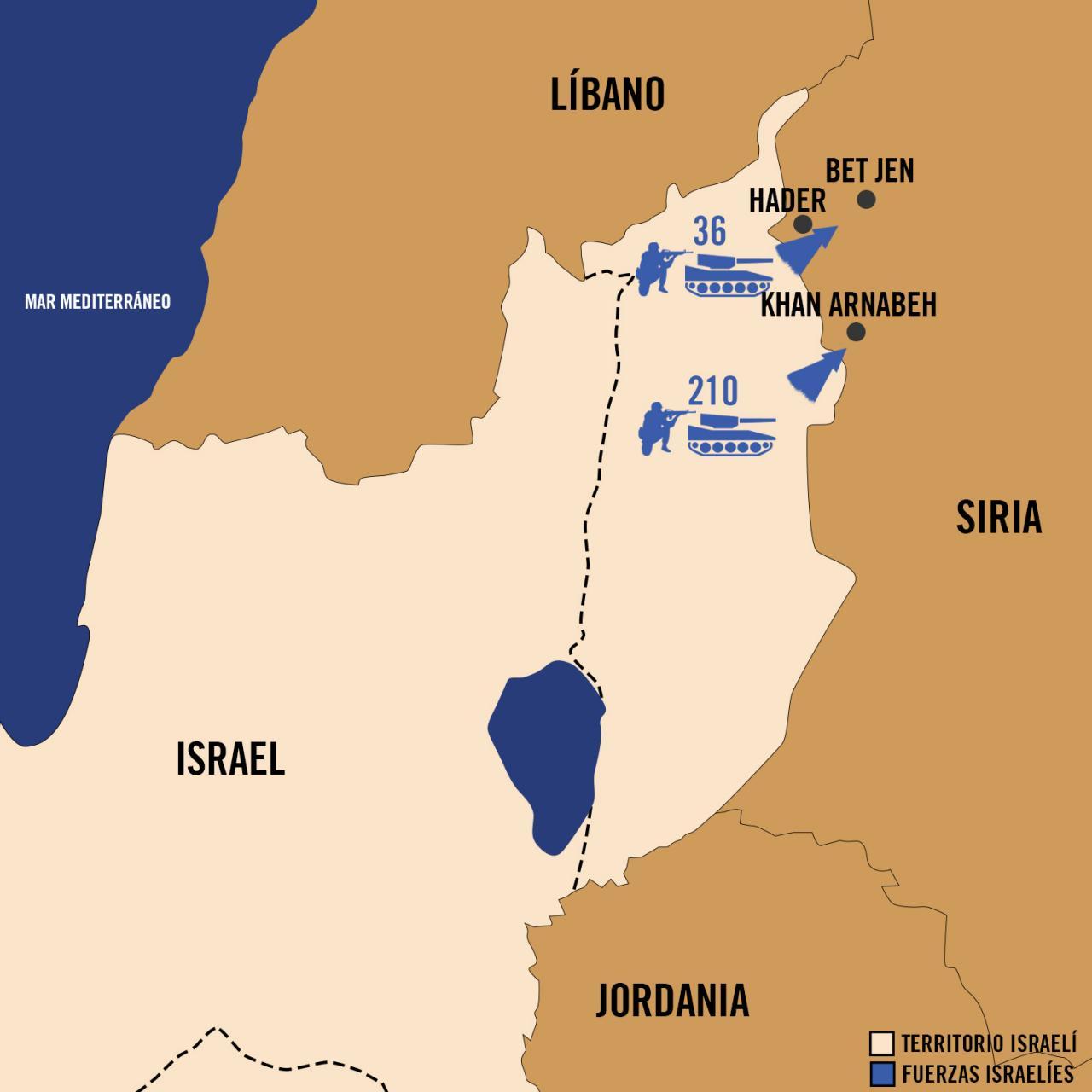 Mapa Yom Kipur - Fuerzas de Defensa de Israel