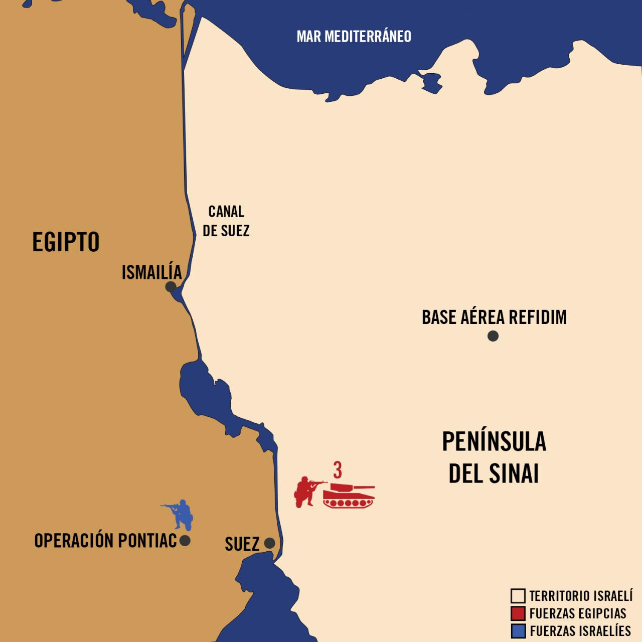 Mapa Yom Kipur - Operación Pontiac - Fuerzas de Defensa de Israel