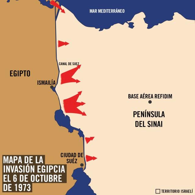 Mapa de la invasión egipcia - Fuerzas de Defensa de Israel