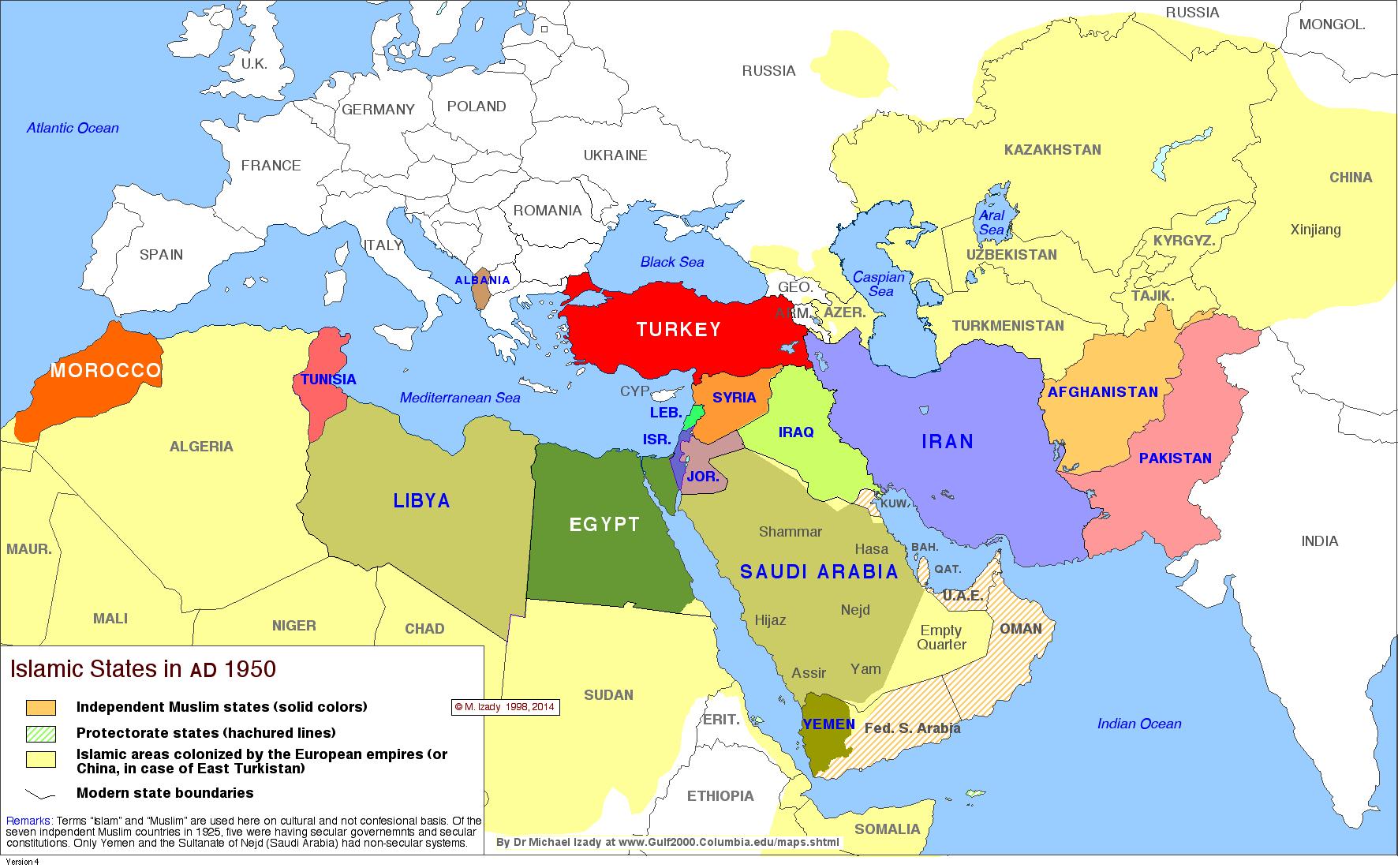 Picture of: Mapa Del Medio Oriente Islamic States 1950 Por Israel
