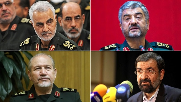 El general Qassem Soleimani, comandante de la Fuerza Al-Quds, el general de división Mohammad Ali Jaafari, comandante de la Guardia, el general Rahim Safavi, asesor militar del líder espiritual y ex jefe de GRI y el general Mohsen Rezae
