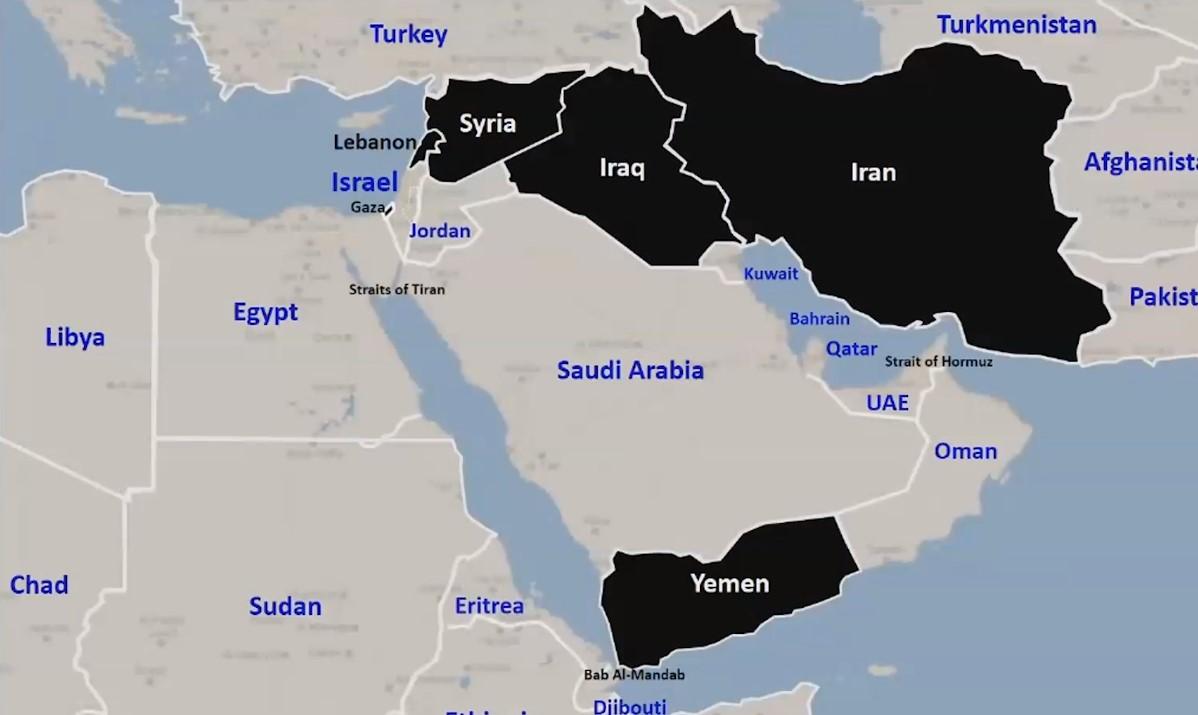 Netanyahu mostró esta representación de la influencia negativa de Irán en la región.